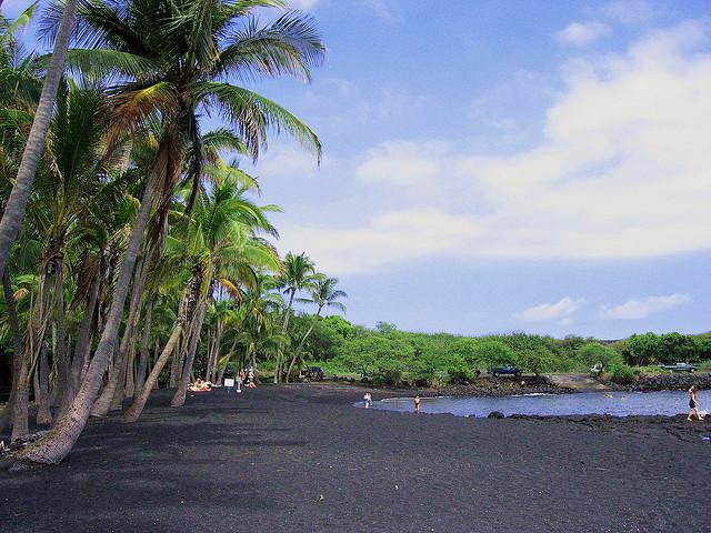 Punaluu Black Sand Beach, Hawaii Island